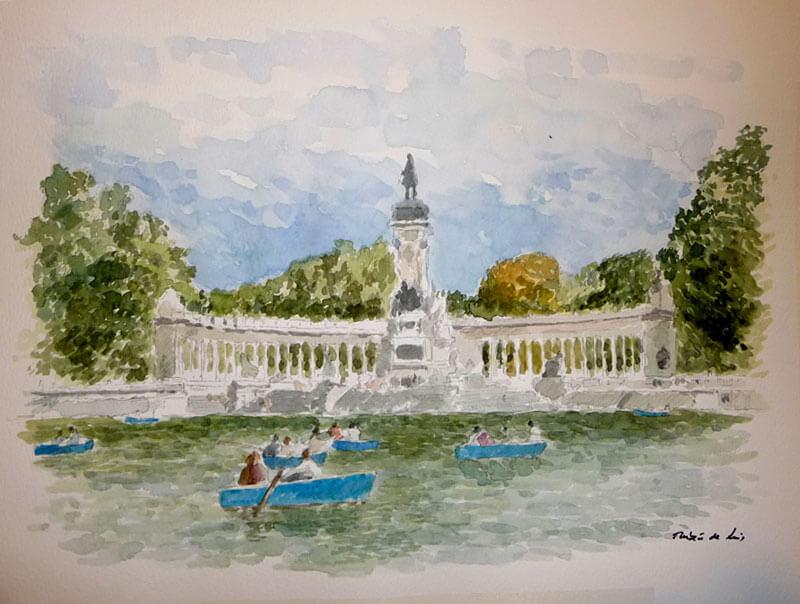 Cuadro en acuarela del parque del Retiro en Madrid.