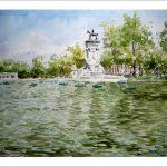 Acuarela del estanque del Retiro en Madrid