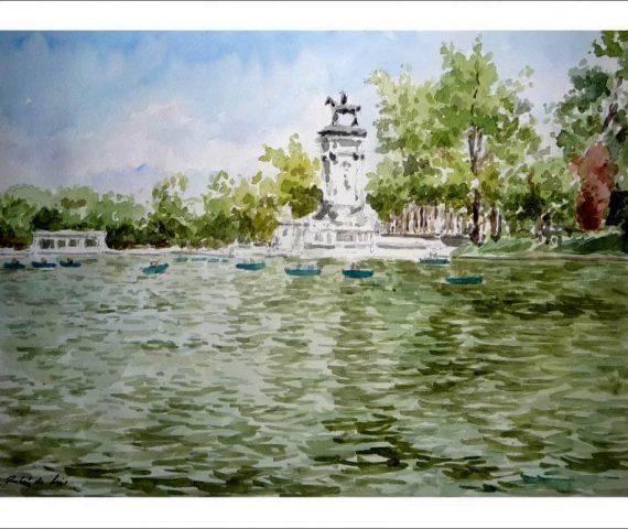 Acuarela del estanque del Retiro, Madrid.