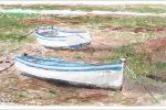 Barcas en las marismas de San Fernándo, Cádiz