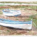 Acuarela de unas barcas varadas en San Fernando, Cádiz