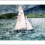 Acuarela de un velero en la bahía de Santander