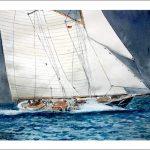 Acuarela de una goleta navegando