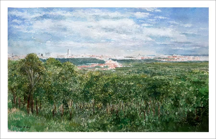 Cuadro de un paisaje de Madrid desde la Casa de Campo.