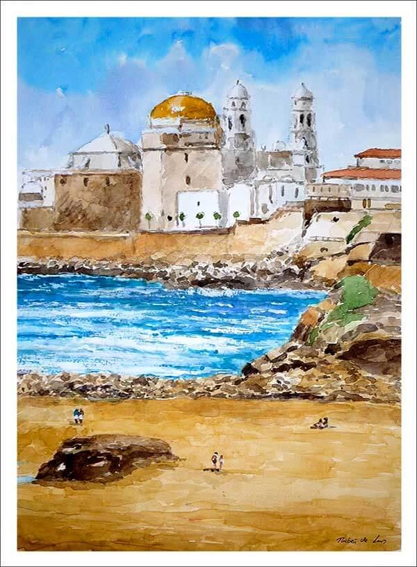 Cuadro en acuarela de un paisaje de Cadiz