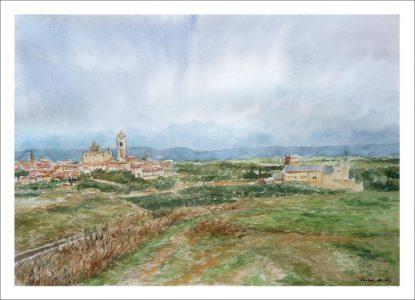 Acuarela de la ciudad de Segovia
