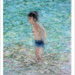 Cuadro en acuarela de un niño en la playa
