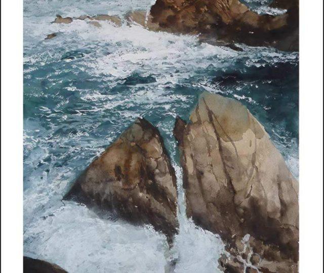 Acuarela de un percebeiro en Galicia