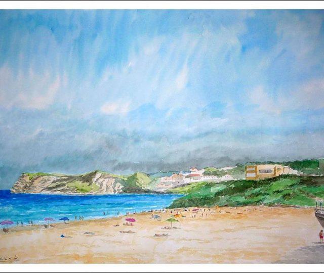 cuadro de un paisaje de Comillas en Cantabria