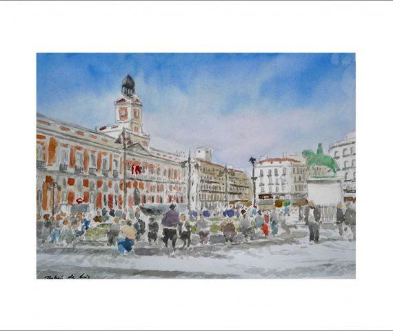 Cuadro en acuarela de la Puerta del Sol, Madrid.