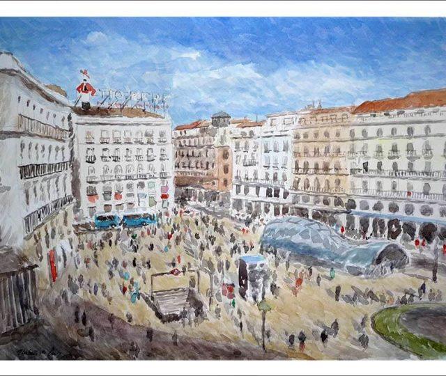 Acuarela de la Puerta del Sol, Madrid