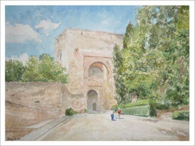 Acuarela de la Puerta de la Justicia, Granada