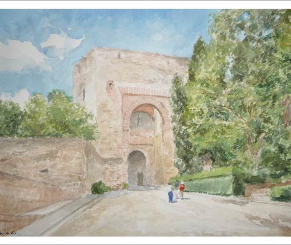 Acuarela de la Puerta de la Justicia, Granada.