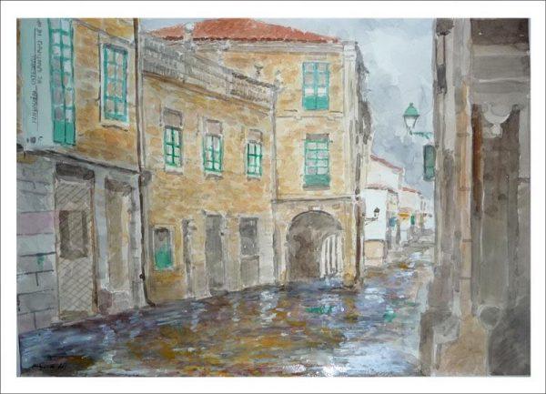 Rúa do Vilar, Santiago de Compostela. Acuarela