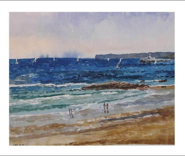 Acuarela de la playa del Sardinero en Santander