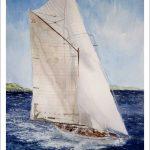 Cuadro de un velero en una regata en Santander