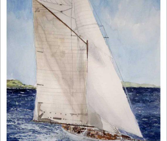 Cuadro de un velero navegando