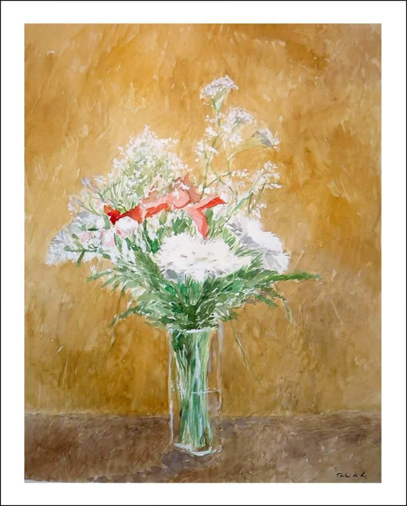 Bodegón de un jarrón con flores