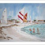 Acuarela de una playa de Formentera