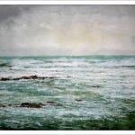 Marina en acuarela con mar de fondo