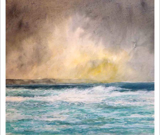 Marina en acuarela de la Costa da Morte