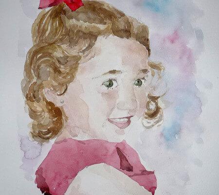 Retrato en acuarela de la niña Victoria