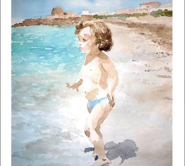 Retrato en acuarela de una niña en una playa