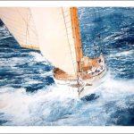Acuarela de un velero en una regata