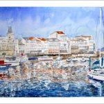 Puerto de La Coruña, acuarela