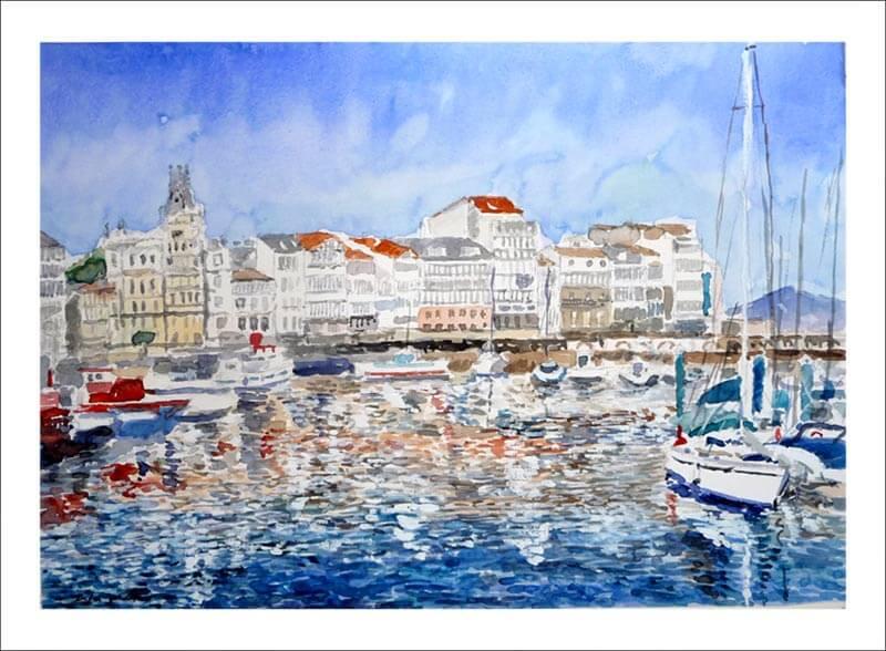 Acuarela del puerto de La Coruña.