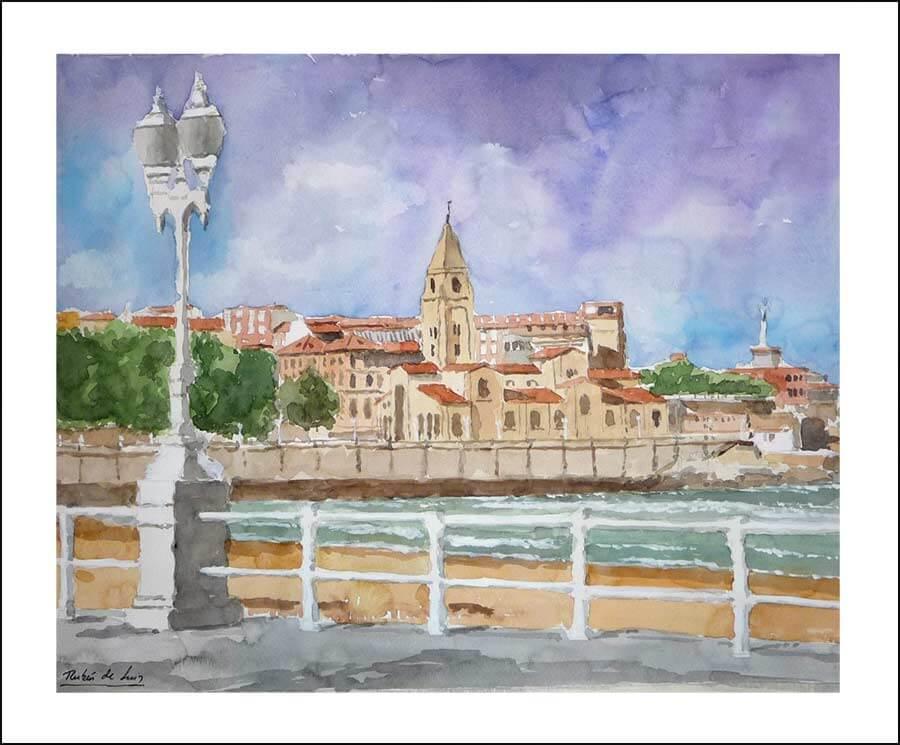 Gijón-Asturias-acuarela