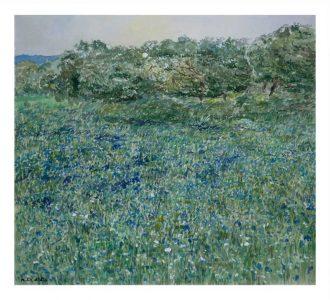 Acuarela de un paisaje de una dehesa con flores violetas