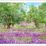 Acuarela de flores violétas y moradas