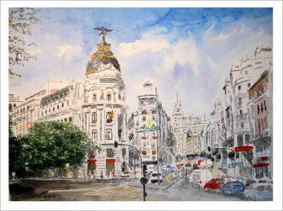 Cuadro en acuarela de la Gran Vía de Madrid.