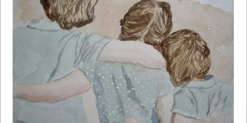 Retrato en acuarela de tres niños pintado por encargo