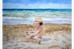 Acuarela de una niña en la playa