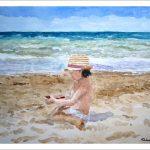 Niña jugando en la playa, acuarela