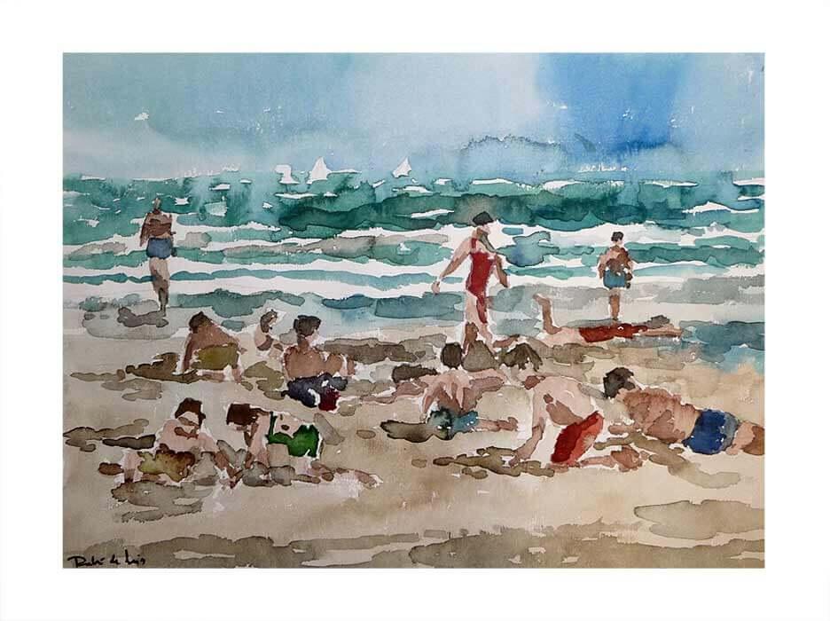 Acuarela, niños en la playa