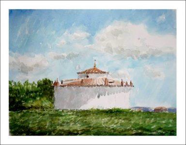 Acuarela de un palomar en Tierra de Campos, Castilla y León
