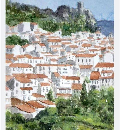 Cuadro en acuarela del pueblo blanco de Gaucín en Málaga.