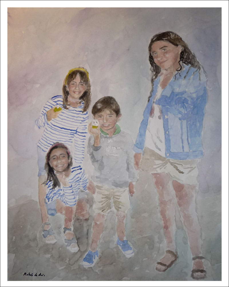 Retrato en acuarela de varios niños