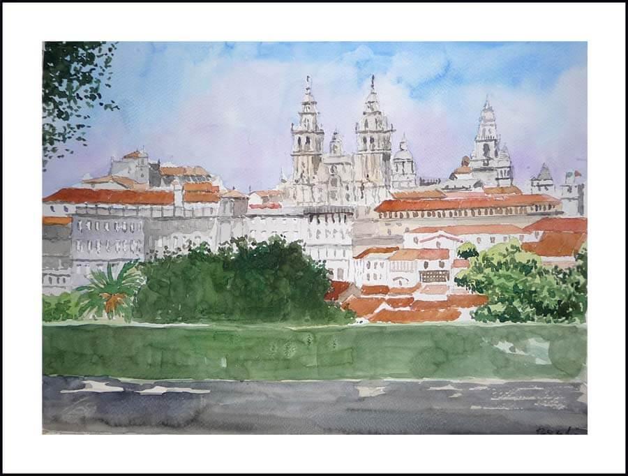 Acuarela de una calle de Santiago de Compostela