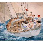 Acuarela de un velero en una regata.