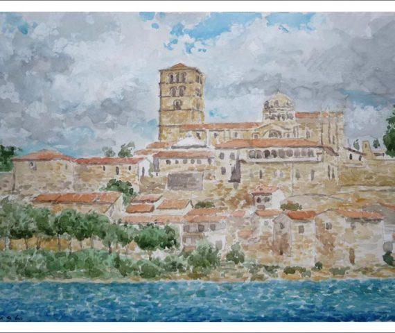 Acuarela de la ciudad de Zamora