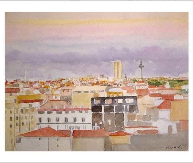 Acuarela de Madrid desde sus tejados