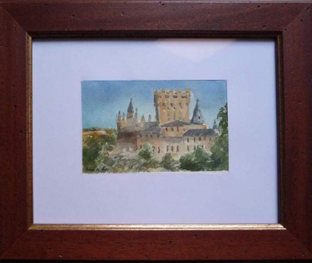 Cuadro en acuarela del Alcázar de Segovia