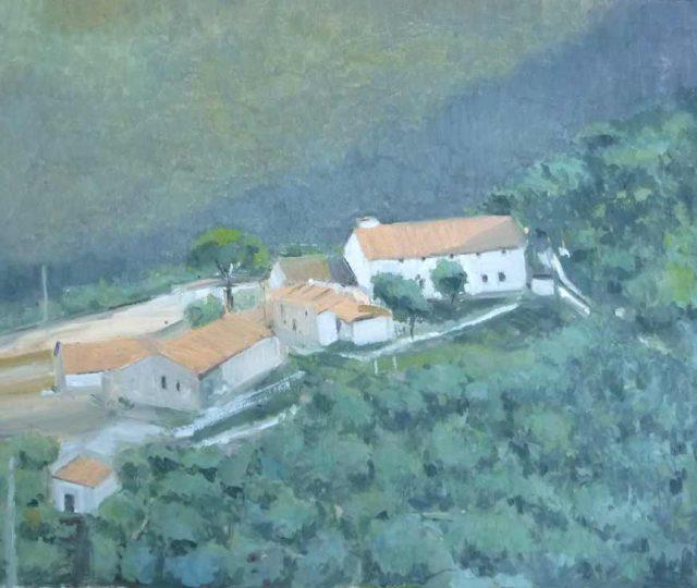Cuadro al oleo de un paisaje de Andratx en Mallorca
