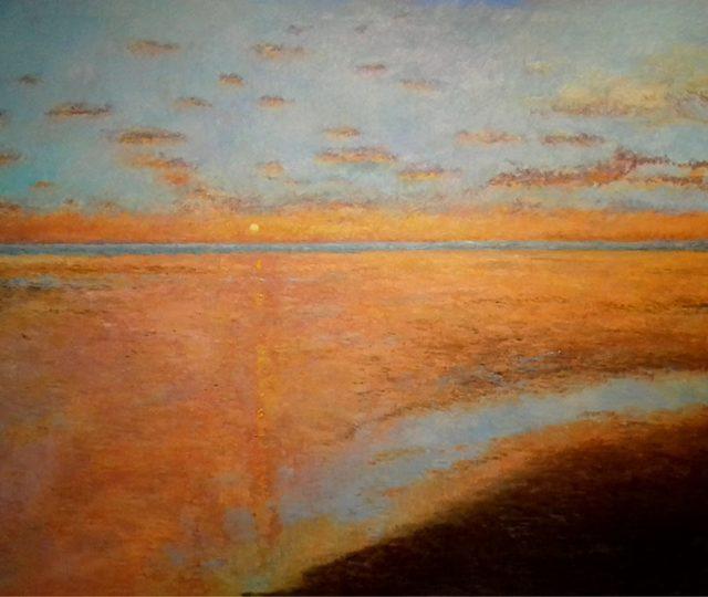 Cuadro de un atardecer en una playa de Huelva