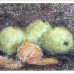 Bodegón de frutas, dibujo a pastel