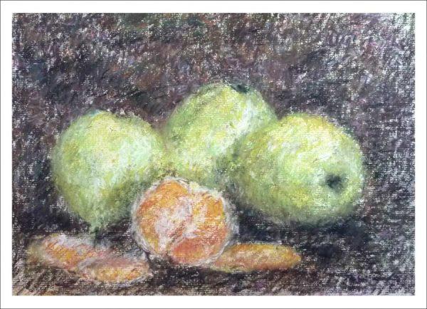 Bodegón de frutas en pastel